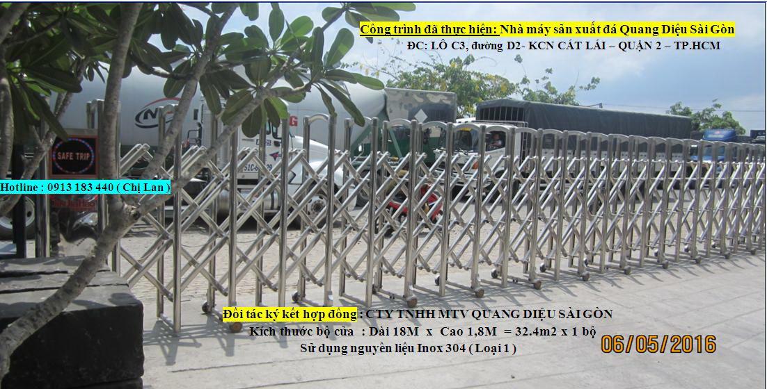 Cổng xếp tự động, Cửa cổng điện inox-0913183440