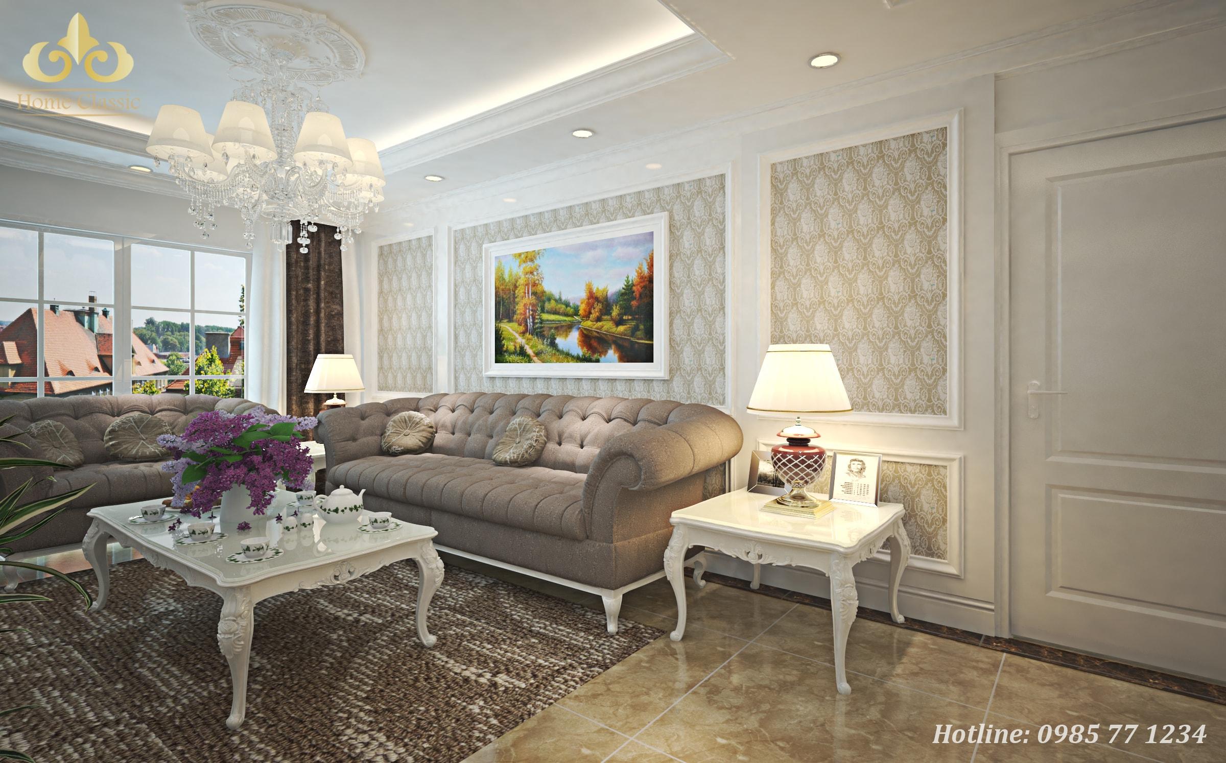 Thiết kế nội thất phòng khách tân cổ điển 2411
