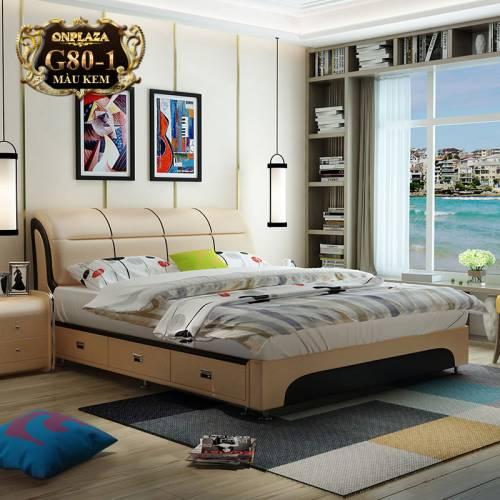 Mẫu giường ngủ bọc da có ngăn kéo hiện đại G80-1