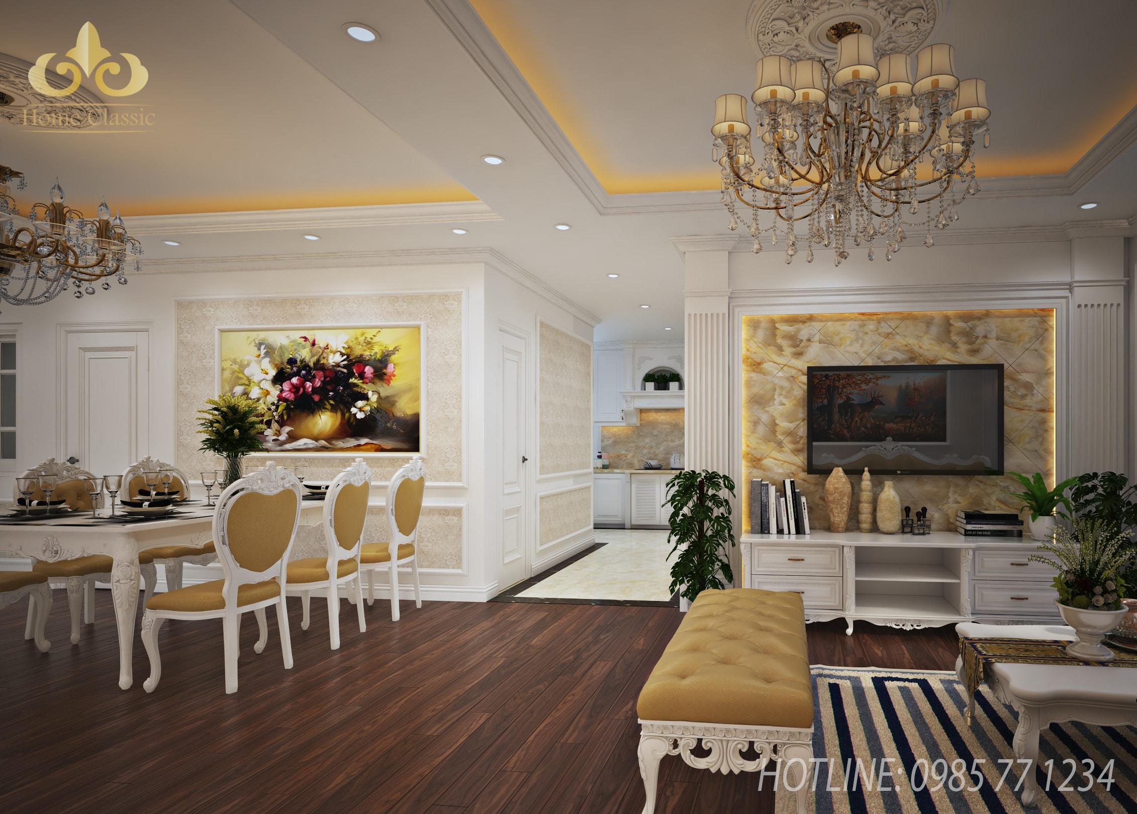 Thi công nội thất tân cổ điển chung cư Tân Hoàng Minh 2311