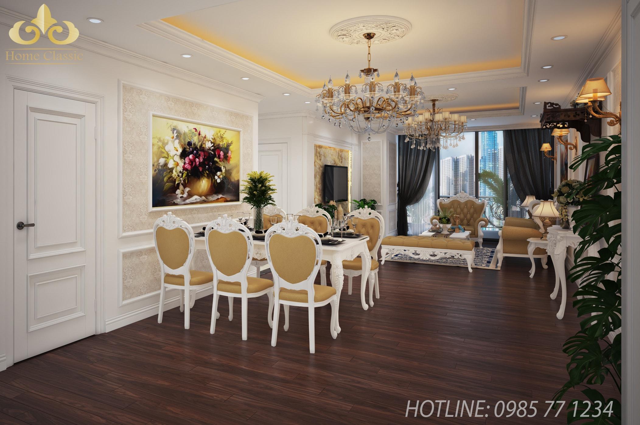 Thiết kế, thi công nội thất tân cổ điển chung cư 2411
