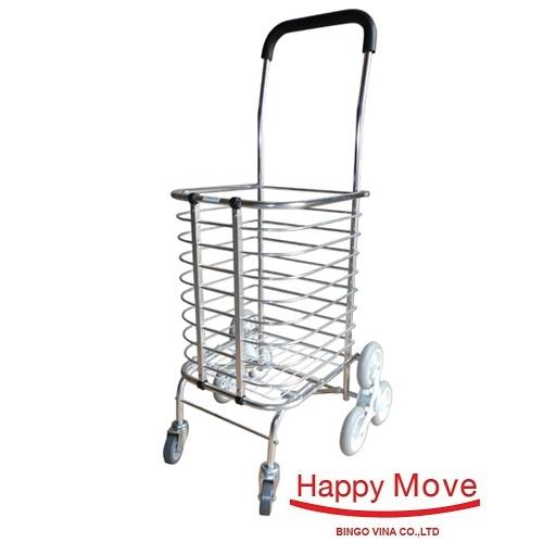 Xe kéo đi chợ leo cầu thang gấp gọn Happy Move 30kg