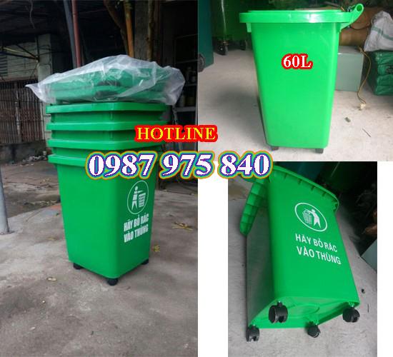 Thùng rác nhựa 60l giá hấp dẫn_Thùng rác công cộng tiện lợi!!