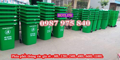 Thùng rác nhựa HDPE 120L : Xanh lá, cam, vàng