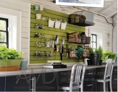 Nội thất nhà ở sang trọng với tấm gỗ slatwall