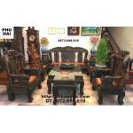 Bộ bàn ghế phòng khách ( Gỗ mun ) Phượng công Vai 12 PC16