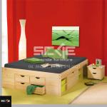 giường ngủ bằng gỗ có ngăn kéo, sơn