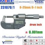 Panme điện tử 0-25 mm, IP54, drum inch