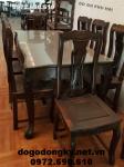 Bộ bàn ghế ăn gỗ mun hoa bàn chữ nhật 8 ghế BA88