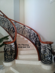 Cầu thang cắt CNC nghệ thuật, sơn tĩnh điện hiện đại