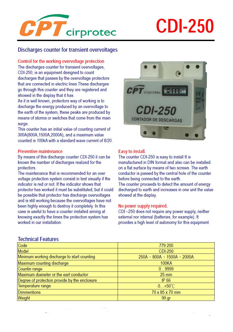 Bộ Đếm Sét Cirprotec CDI 250
