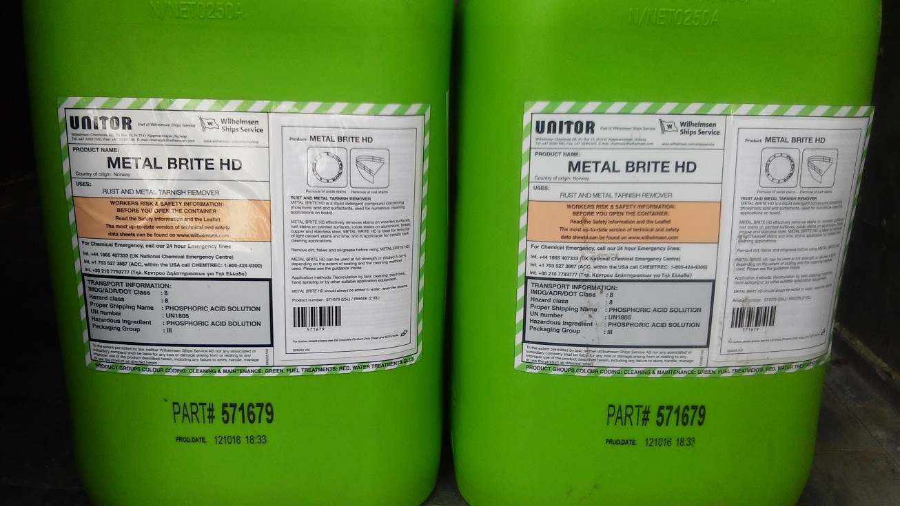 Metal Brite HD 25 Ltr/Can. P/N: 651 571679. Maker: Unitor