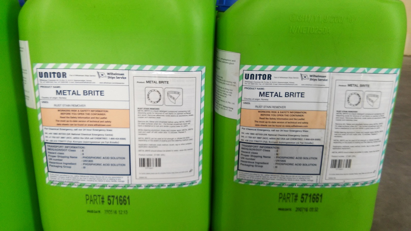 Metal Brite Rust Stain Remover 25 LTR. P/N: 651 571661. Maker: UNITOR