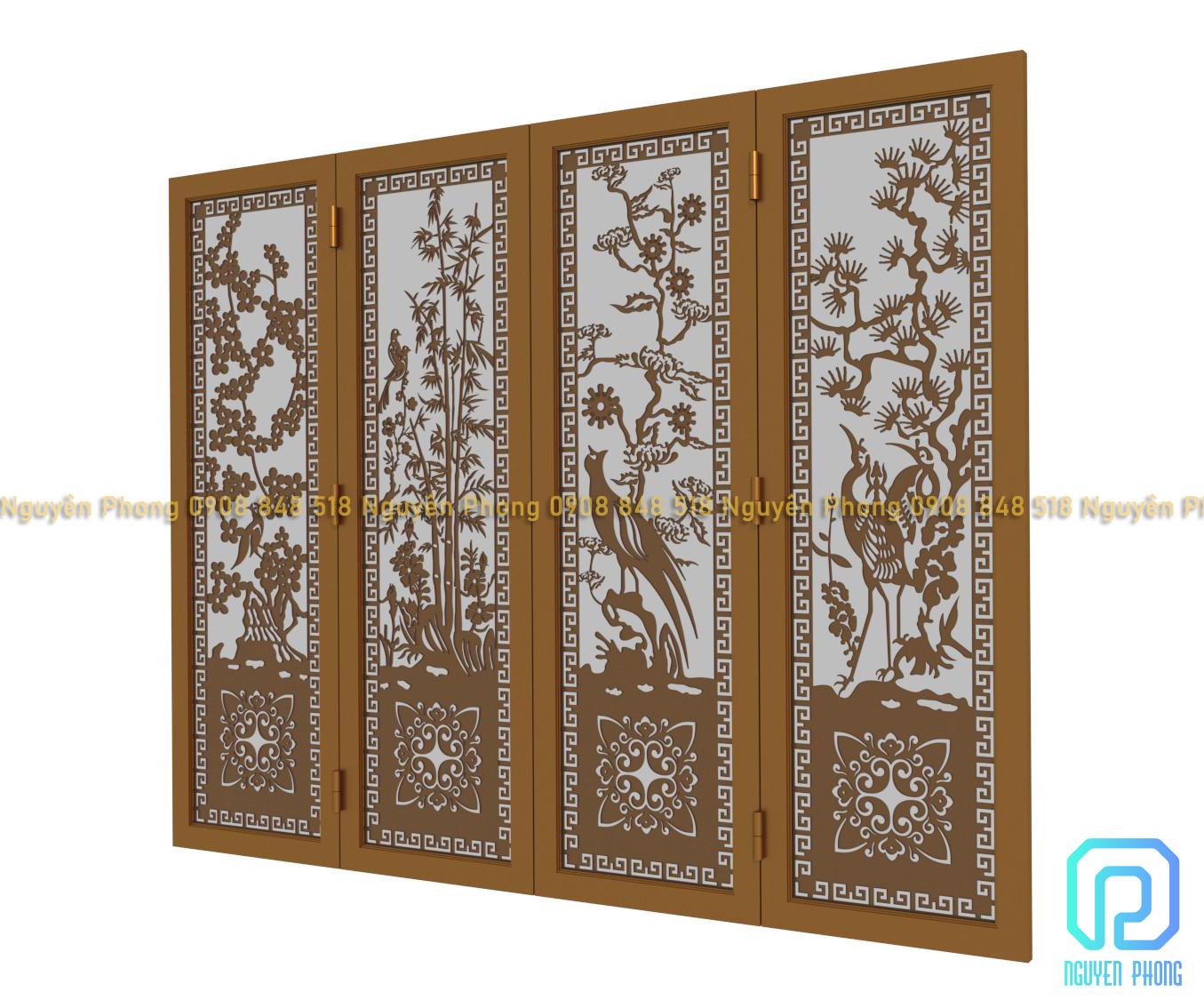 Cửa đi, cửa cổng 4 cánh hoa văn tùng cúc trúc mai đẹp nhất