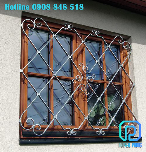 Khung bảo vệ, song cửa sổ sắt uốn nghệ thuật sang trọng, sơn epoxy cao cấp bảo vệ vật liệu