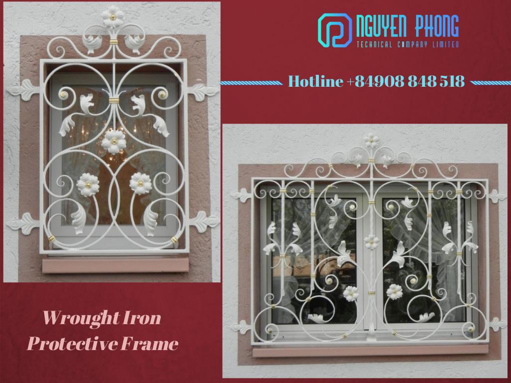 Khung bảo vệ sửa sổ, khung sắt uốn mỹ thuật đẹp nhất - thiết kế và thi công theo yêu cầu, bản vẽ