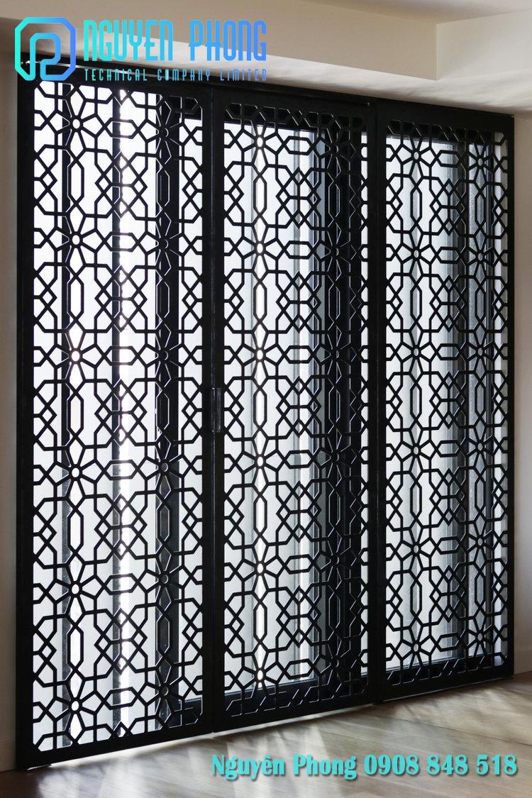 Mẫu cửa sắt CNC, cửa lùa, cửa nhôm kính ốp tấm hoa văn CNC