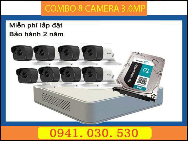 Camera trọn bộ: 8 camera thân 3.0MPX