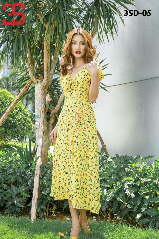 Đầm Maxi Hoa 2 Lớp Vàng - Hàng Thiết Kế 3SD-05 giá sỉ, giá bán buôn