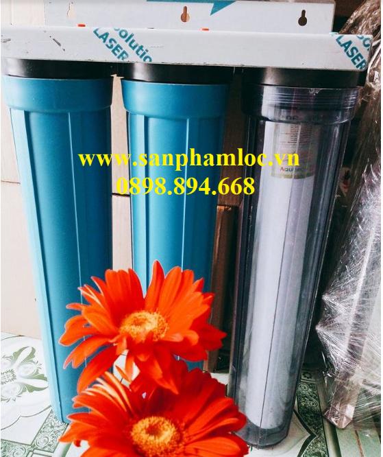 Bộ ba cốc nhựa PP 20 inch lọc nước sinh hoạt, nước cấp, nước giếng khoan