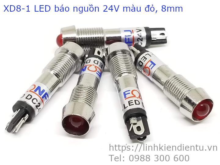 XD8-1 đèn LED báo nguồn 8mm vỏ inox