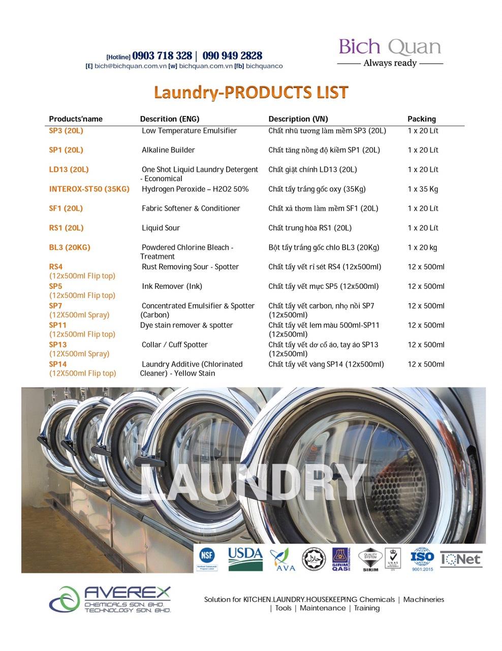 LAUNDRY Chemicals-Hóa chất giặt là công nghiệp 6 trong 1 & Hóa chất tẩy điểm, tẩy đốm vết dơ chuyên nghiệp