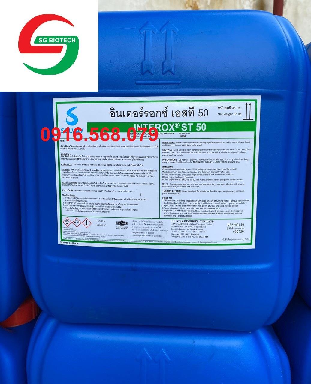 Oxy già, H2O2, Hydrogen peroxide 50% hàng Solvay, Thái Lan