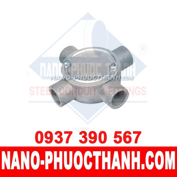 Hộp nối ren 4 ngã – Phụ kiện ống thép luồn dây điện IMC - NANO PHƯỚC THÀNH