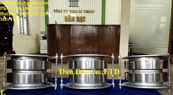 Khớp nối giãn nở nhiệt DN300x300 ((Ống 0.4ly inox 304, 2 lót dày 3 ly sắt, 2 pasty sắt M18, 3 cổ 6 ly sắt, theo BV, mặt bích dày 10ly sắt)