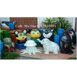 thùng rác hình con thú, thùng rác trang trí, thùng rác trường học