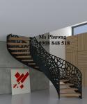 Cầu thang sang trọng cắt CNC nghệ thuật