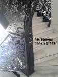 Cầu thang cắt CNC hoạ tiết sắt tinh tế, hiện đại