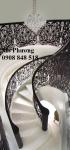 Cầu thang hoa văn kim loại cắt CNC nghệ thuật, hiện đại